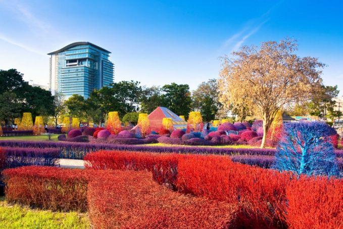 Tanpa photoshop loh ya, ini adalah potret taman yang ada di Universitas Rangsit yang ada di Thailand.