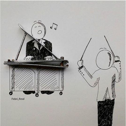 Selain itu Febri mengkreasikan pemotong kuku tersebut seolah seperti orang yang sedang bermain piano dan seorang konduktor.