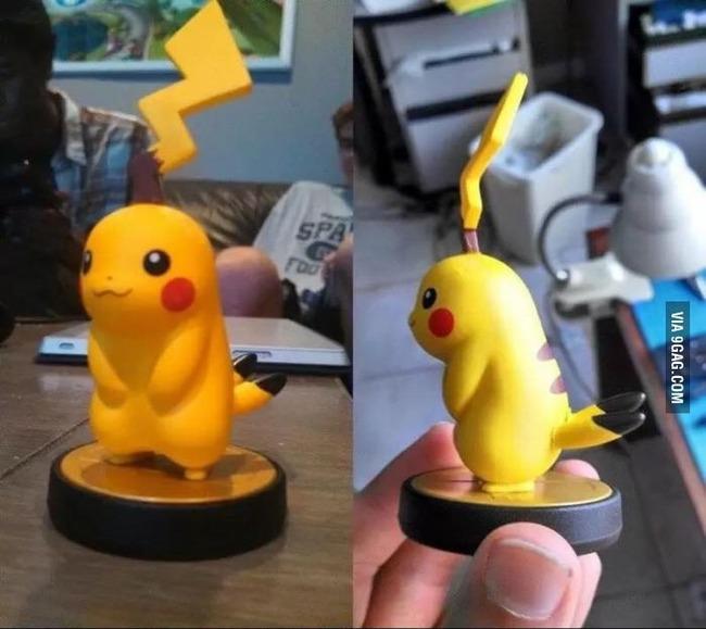 Pikachu seperti kena kutukan nih Pulsker, liat aja semuanya serba kebalik. Ekornya ada di kepala, dan telinganya ada di bagian ekor.