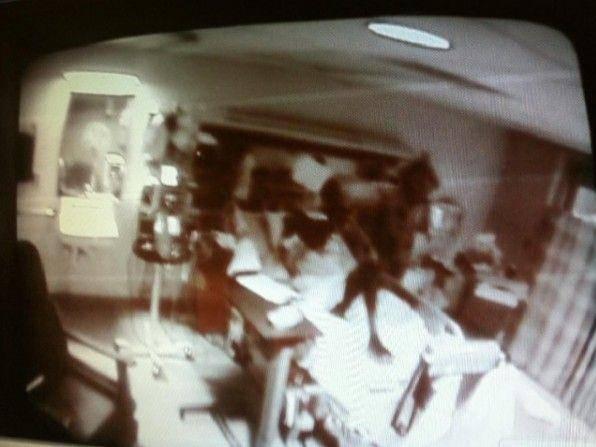 Ini adalah foto yang diambil dari CCTV rumah sakit. Seperti ada iblis berekor yang menaiki meja resepsionis.