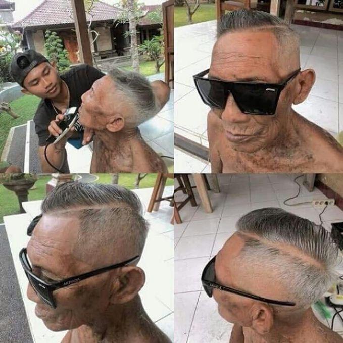 Berhubung si cucu baru saja lulus dari kursus potong rambut, si kakek tertarik buat jadi modelnya. Keren nggak?.