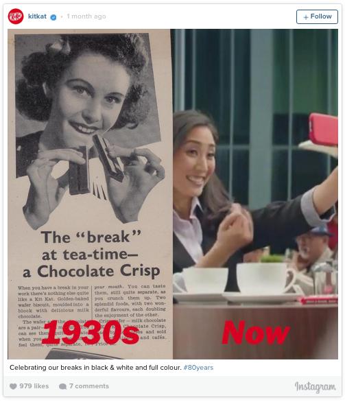 Selain itu juga bisa dijadikan teman camilan saat minum teh di sore hari. Seperti pada iklan 'KitKat'yang dibuat pada tahun 1930-an ini.