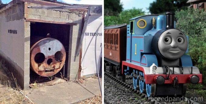 Sebuah tangki lawas dan tak terpakai ini pun terlihat seperti tokoh kartun kereta Thomas.