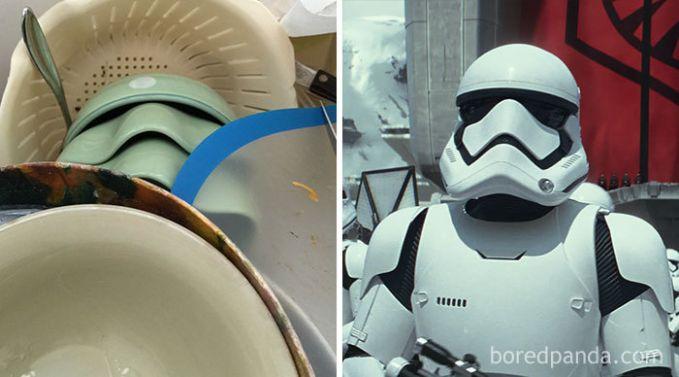 Nggak nyangka kan kalau tumpukan piring dan perabotan dapur lainnya mirip sosok Stormtrooper?.