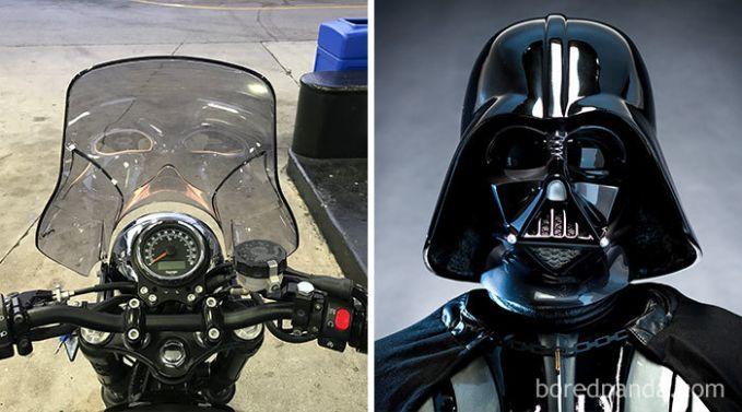 Atau windshield di sebuah motor yang sekilas seperti wajah Darth Vader begini Pulsker.