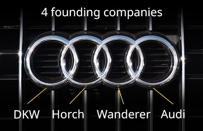 Logo merek mobil kenamaap Eropa, Audi memang terlihat simpel. Terdiri dari empat buah lingkaran. Dan masing-masing lingkaran tersebut melambangkan para pendiri perusahaan di tahun 1932 silam. Yakni, DKW, Horch, Wanderer dan Audi.