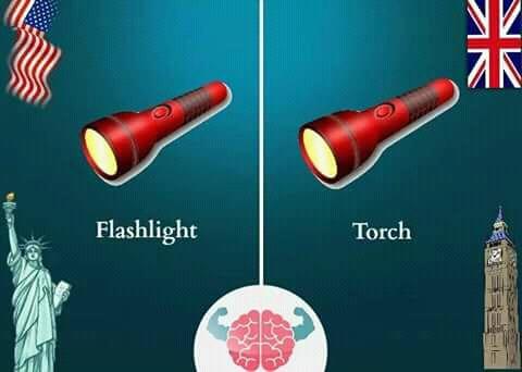 Orang Amerika menyebut senter dengan istilah 'flashlight'. Sementara orang Inggris sendiri menyebutnya dengan 'torch'. Secara harfiah 'torch' berarti obor, tapi bisa juga diartikan sebagai penerangan.