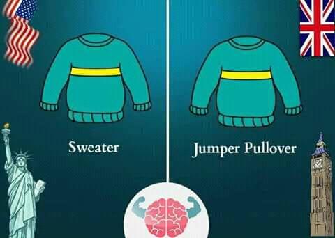 Bagi orang Amerika, baju hangat cukup disebut 'sweater'. Namun beda nih kalau orang British nyebutnya 'jumper pullover'. Simpel mana nih?.