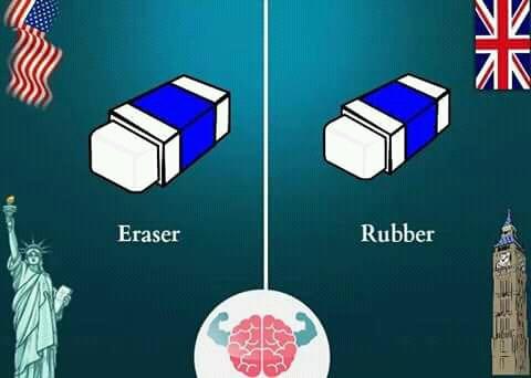 Begitupula ketika menyebut penghapus. Orang Amerika menyebutnya dengan 'eraser', tapi orang Inggris sana bilangnya 'rubber'.