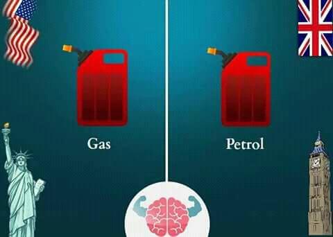Bahan bakar di Amerika disebut 'gas', dan di Inggris disebut 'Petrol'. Karena untuk membedakan dengan jenis gas lainnya Pulsker. Nah, udah tau kan sekarang perbedaan bahasa Inggris ala orang Amerika dan bahasa Inggris yang dari tanah asalnya atau British?. Semoga bermanfaat dan menambah pengetahuan kita semua ya Pulsker.