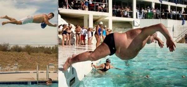 Kalau orang bertubuh kurus pas terjun ke kolam bisa melayang tinggi. Beda halnya dengan orang bertubuh gendut, walaupun gitu semangat berolahraganya harus kita acungi jempol.