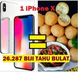 Perbandingan Harga Satu Unit iPhone X Baru Kalau Ditukar Sama Makanan, Sekampung Bisa Makan Tuh !