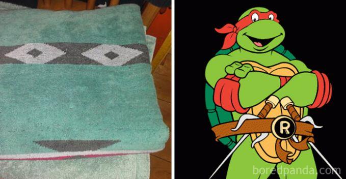 Sepertinya kura-kura ninja ini sedang menyamar jadi keset ya.