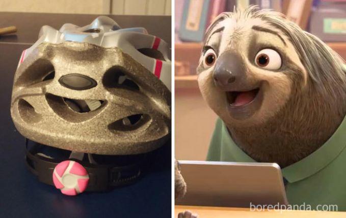 Helm sepeda ini terlihat seperti Sloth dari film Zootpia.
