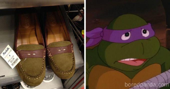 Selain jadi keset, ternyata kura-kura ninja juga bisa menyamar menjadi sepatu.