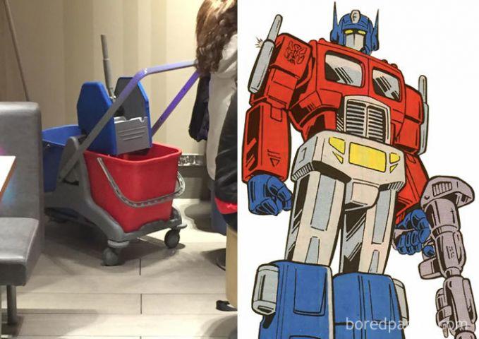 Optimus Prime yang udah nggak jadi truk lagi, tapi jadi ember tempat pel. Lucu banget ya membayangkannya.