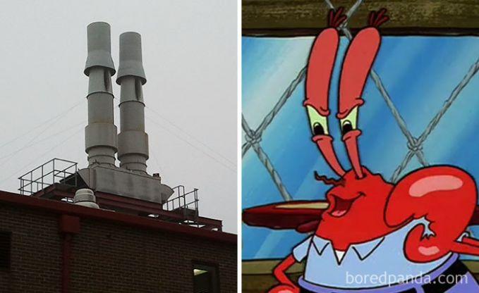 Cerobong asap ini sangat mirip dengan bos pelit pemilik restoran The Krusty Krab, Tuan Crab dalam film Sponge Bob.