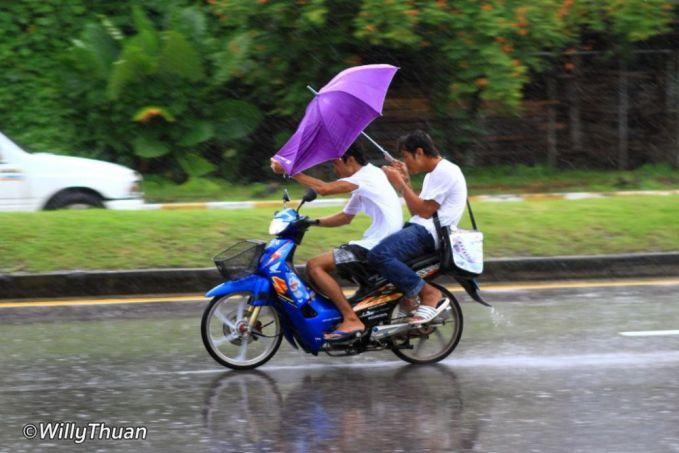 Yaelah, ngapain pakai payung kalau ujung-ujungnya basah juga mas?.