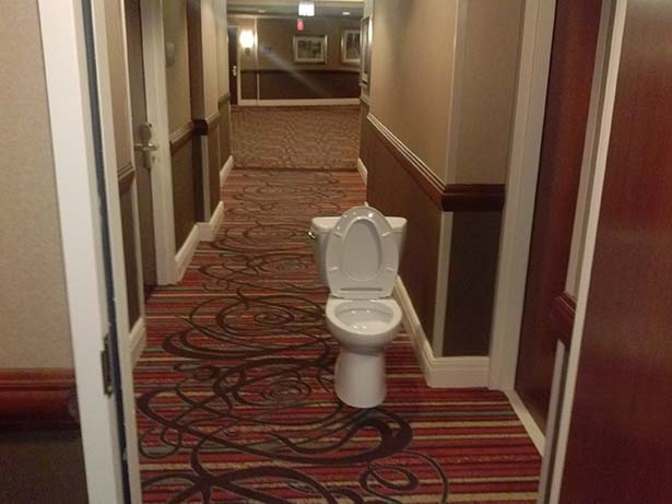Bisa dipastikan kalau ini adalah WC bintang 5 yang beralaskan karpet mewah.