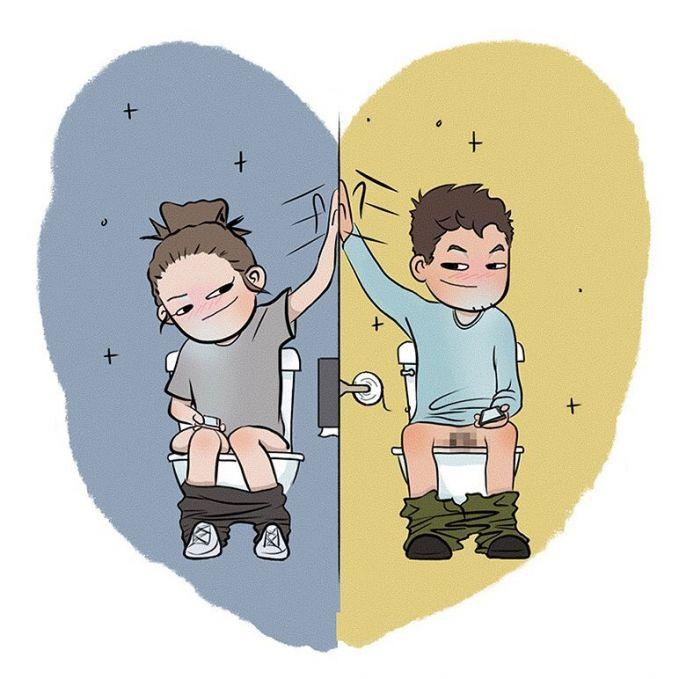 Saat menikah, kita nggak udah nggak canggung lagi untuk ngobrol. Walaupun lagi di toilet sekalipun.