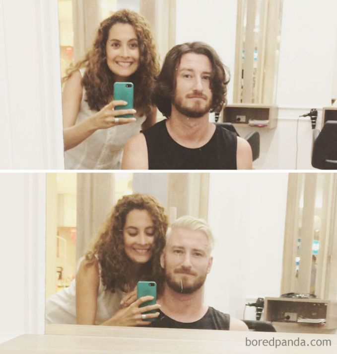 Jangan lupa foto dulu sebelum dan sesudah mencukur rambut buat kenang-kenangan. Buat kalian yang punya rambut gondrong nggak tertarik juga nih buat potong rambut gaya pendek?.