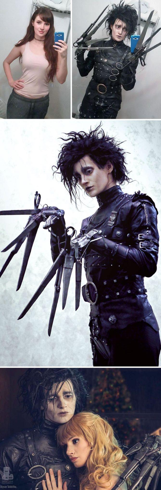 Edward Scissorhands Nggak cuma wajah, tapi senjatanya juga bisa ia tirukan. Niat banget kan?