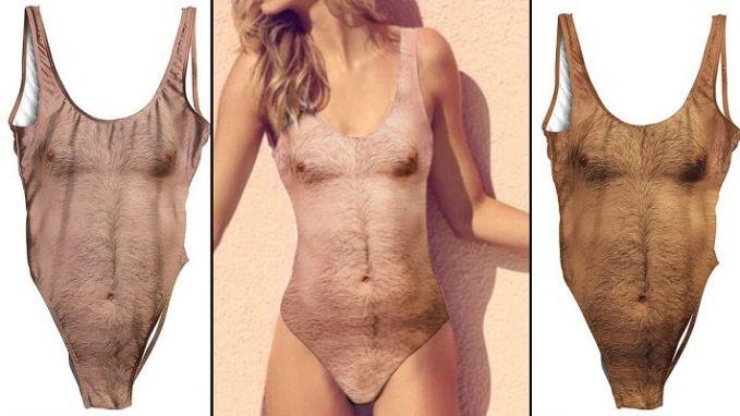 Baju renang wanita dengan desain kulit penuh bulu dada yang bikin siapa saja ilfil negliatnya ya gengs.