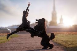 Foto Aksi Memukau Anjing yang Melakukan Tari Balet di Jalanan Rusia