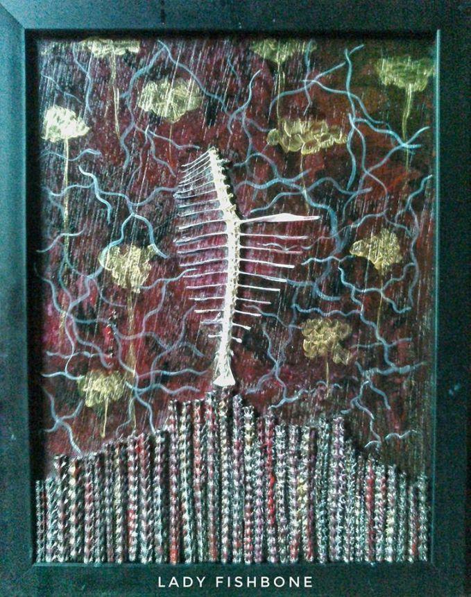 Atau dengan karya yang seperti ini gaes. Coba kalian hitung, ada berapa banyak tulang ikan yang diperlukan ya?.