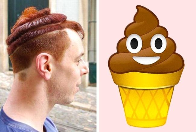 Saking demennya sama es krim, sampai-sampai gaya rambutnya dibikin ala-ala es krim juga tuh.