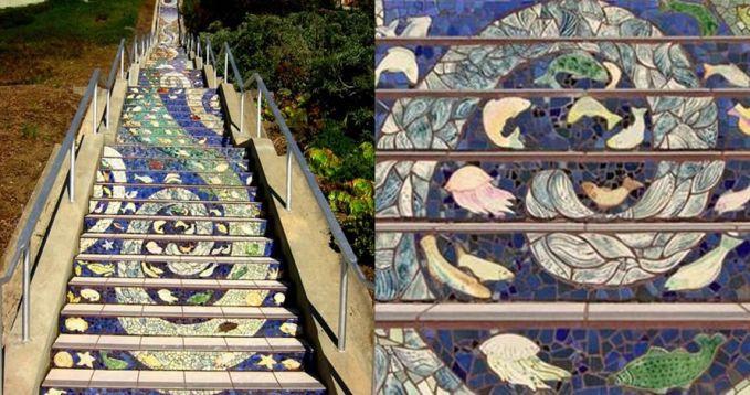 Ini adalah tangga mozaik yang menyusun pola di San Fransisco.