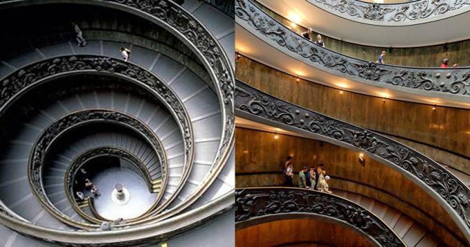 Tangga di Museum Vatikan ini juga nggak kalah indah dengan yang lain. Ditambah lagi ukiran-ukiran indah yang ada disisinya membuat tangga ini menjadi lebih bernilai seni tinggi.