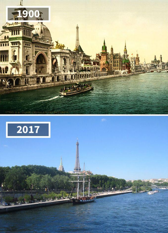 Dulu sekitaran sungai di Quai des Nations, Paris pada awal 1900-an masih dipenuhi oleh bangunan bergaya arsitektur klasik. Sekarang, bangunan tersebut sudah rata dengan tanah dan menjadi sebuah dermaga.