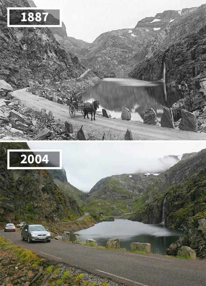Tidak ada perubahan yang berarti di Selvestadjuvet, Odda, Norwegia dari tahun 1887 hingga tahun 2004. Namun, jalanan yang dulunya terjal sekarang jadi lebih mulus. Yang lewat bukan lagi kereta kuda.