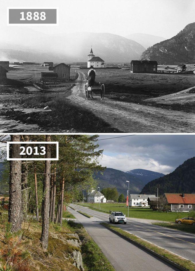 Ladang luas di daerah Rystadd, Norwegia tahun 1888 kini berubah jadi pemukiman dan jalanan beraspal Pulsker.