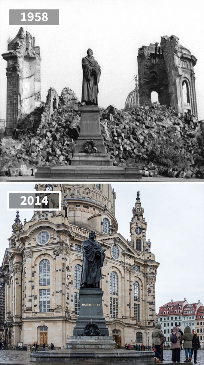 Patung Martin Luther King di Dresden, Jerman masih berdiri tegak walaupun bangunan sekitarnya hancur karena sisa-sisa Perang Dunia II tahun 1958. Namun bangunan tersebut kini telah dipugar dan nampak seperti awal berdirinya dulu.