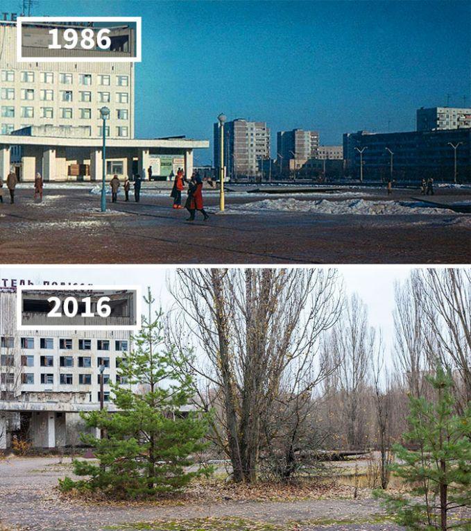 Foto atas adalah saat-saat sebelum Pripyat, Ukraina di tahun 1986. Sekarang, kota tersebut sudah jadi kota mati setelah peristiwa meledaknya reaktor nuklir Chernobyl di tahun yang sama.