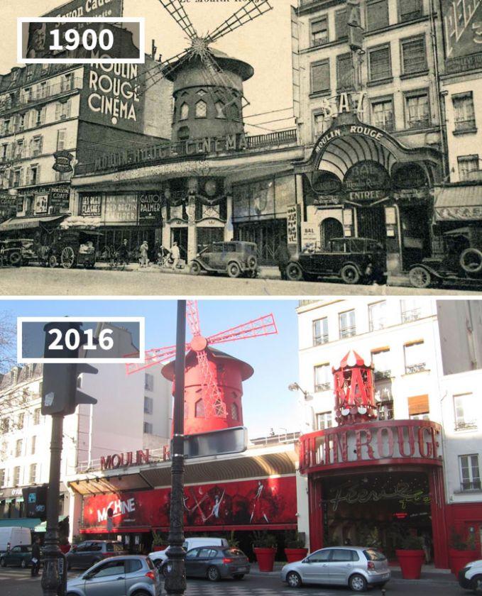 Salah satu sudut gedung bioskop Moulin Rogue di Paris, Perancis sudah terkenal sejak dulu gengs. bahkan sampai sekarang popularitasnya masih belum hilang.