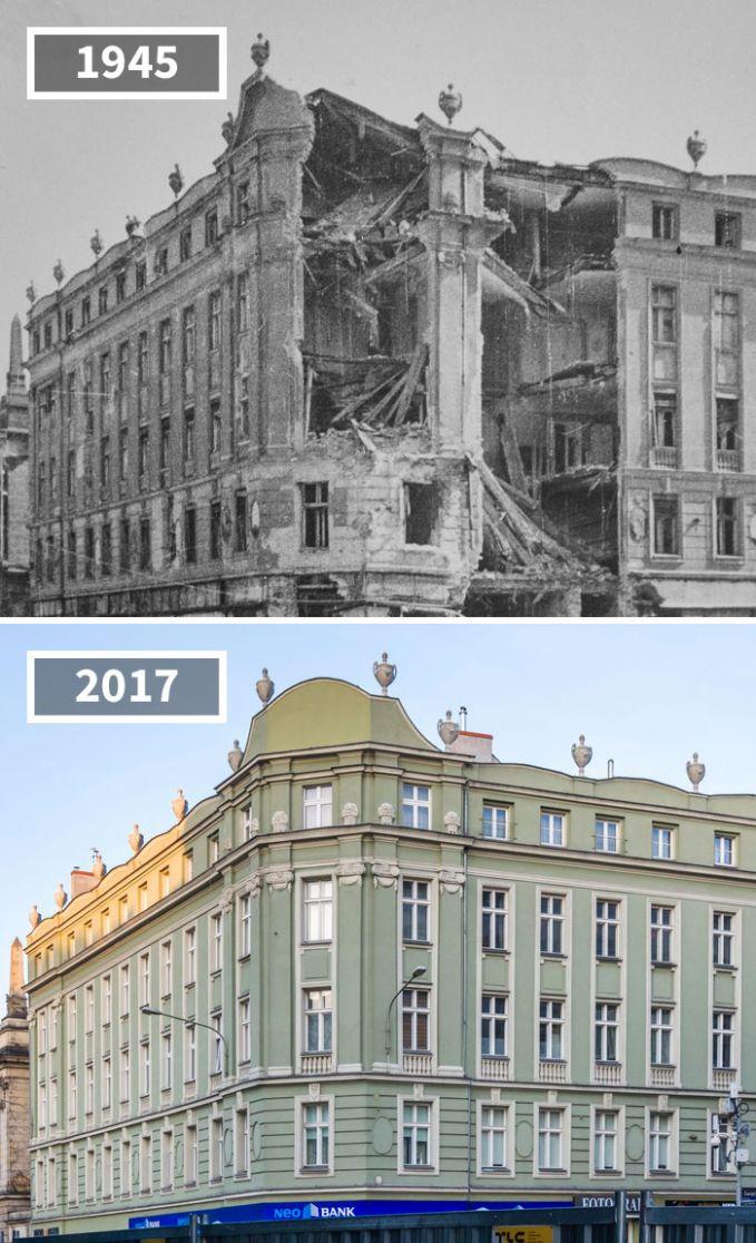 Pasca Perang Dunia II sudut kota Skryzowanie di Polandia terlihat berantakan. Kini setelah 72 tahun berlalu, gedung tersebut nampak indah kembali.
