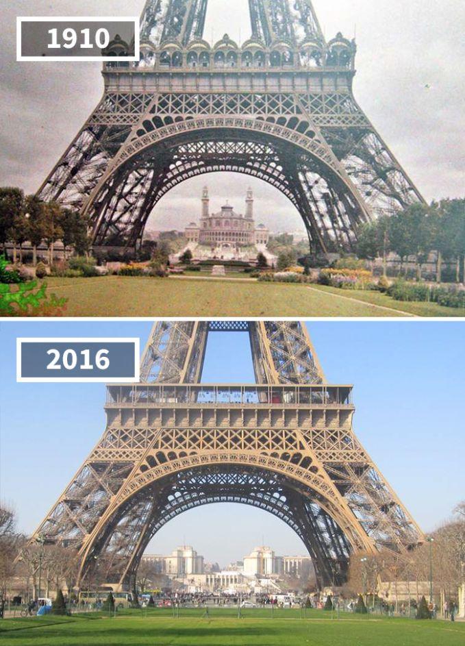Dan beginilah pemandangan di sekitar menara Eiffel awal abad ke-20, bandingkan dengan pemandangannya yang sekarang. Lebih keren mana gaes?. Itu dia foto-foto perbandingan masa lalu kota Eropa dulu dan sekarang. Beda banget ya gaes?. dan perubahan itu akan terus berlanjut sampai masa mendatang.