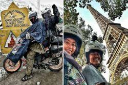 Kisah Pasangan Suami-Istri yang Keliling Eropa Dengan Motor Bebek..Keren!