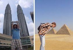 Pose Foto Liburan Nggak Biasa dengan Latar Bangunan Ikonik di Dunia