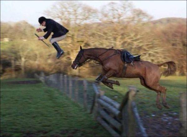 Waduh, om joki nggak kenceng sih pas pegangan di tali kekangnya. Jadi pas si kuda melompat dia juga terpelanting duluan.