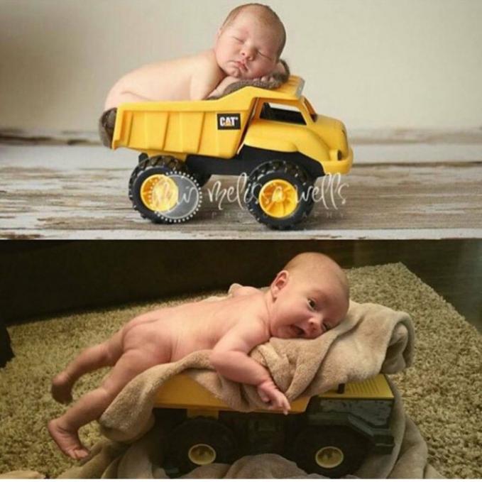Duuhh ma, aku mau dibawa kemana sih kok naik truk mainan??