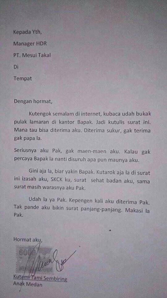 lamaran kerja ala anak Medan yang langsung to the point dan nggak bertele-tele.