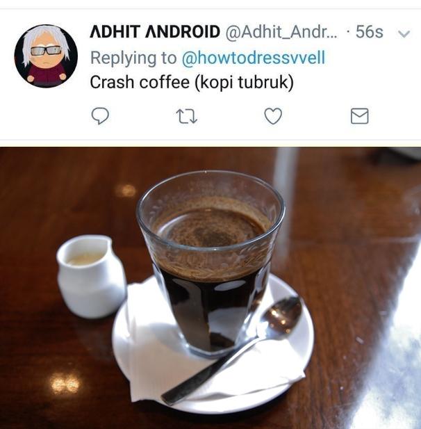 Crash coffe, kopi yang saling bertabrakan alias kopi tubruk.