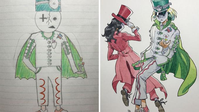Ayah Kreatif Ubah Gambar Coretan Anak Jadi Ilustrasi Kartun Walaupun