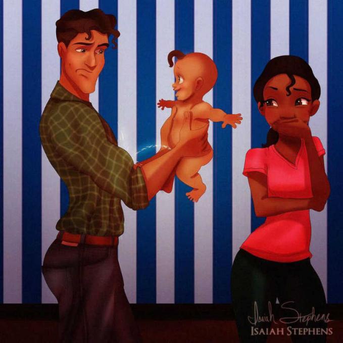 Maunya sih Putri Tiana foto keluarga, eh nggak taunya si bayi malah pipis di ayahnya tuh.