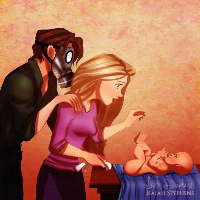 Wah, suami Rapunzel sampai segitu amat ya ngerawat bayinya?.