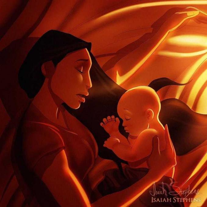 Padahal Pocahontas udah ngantuk, tapi demi anak semua bakala dilakukan. Wah, unik juga ya kehidupan putri Disney kalau mereka jadi ibu hamil dan ngerawat bayinya.